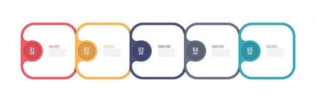 Timeline infographic label design with 5 number options, steps or processes.