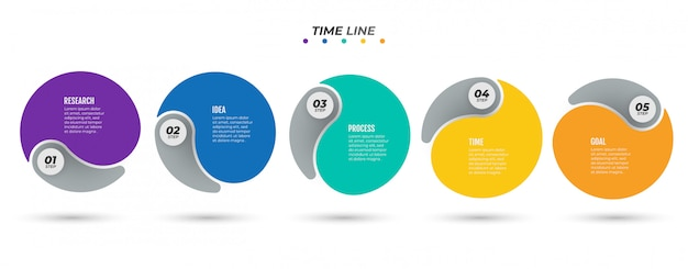 Timeline infographic label design with circle and 5 number options, steps, or processes.