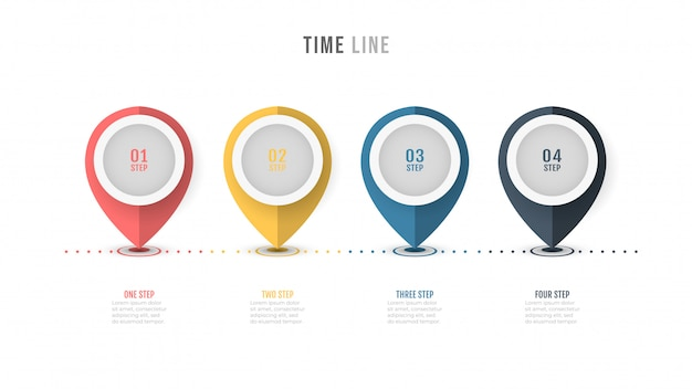 Timeline infographic label design with number options.