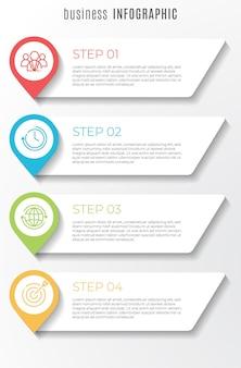 タイムラインインフォグラフィックテンプレート4ステップ
