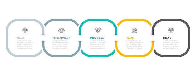 Timeline infographic template for business process steps