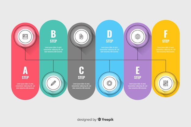 Timeline infographic template flat design
