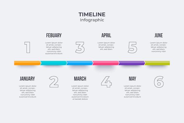 タイムラインインフォグラフィックテンプレートフラット