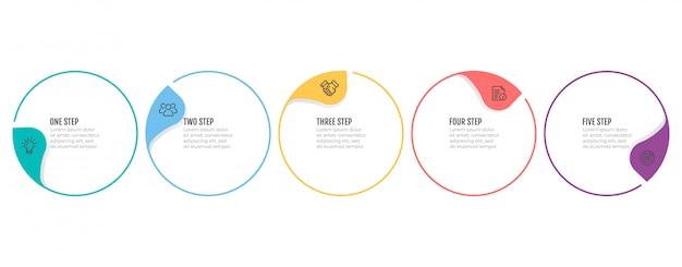 Хронология инфографики шаблон для шагов бизнес-процесса