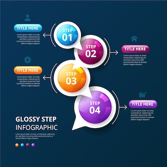 Timeline infographic template realistic glossy