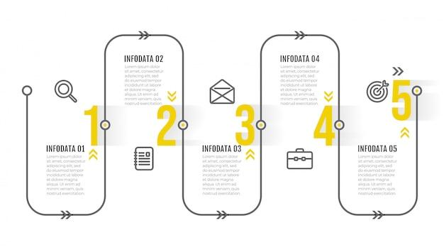 タイムラインインフォグラフィックテンプレート。アイコンと番号のステップで細い線のデザイン。 5つのオプションのビジネスコンセプト。
