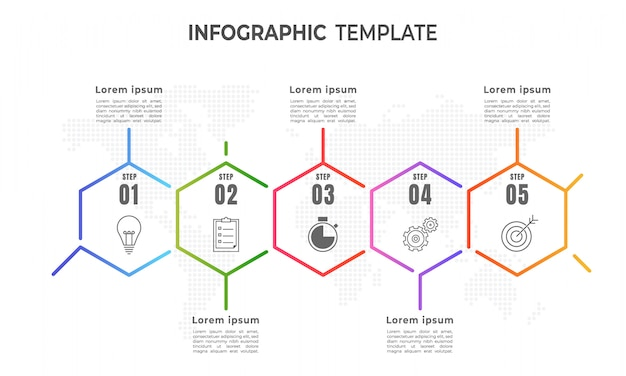 Timeline infographic template, thin line style 5 step.