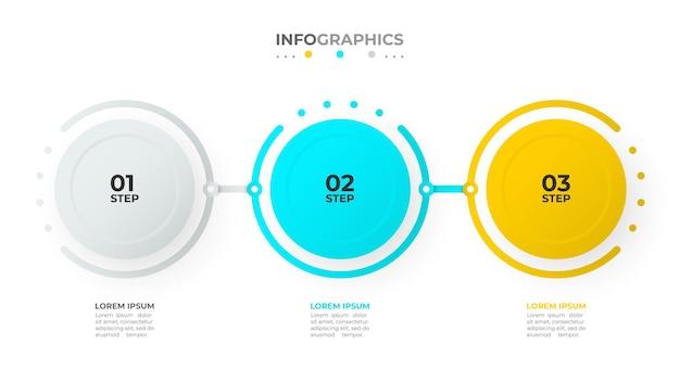 Хронология инфографики шаблон вектор дизайн с кругами и числами бизнес-концепция с тремя вариантами или шагами