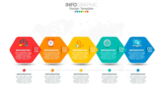 Timeline infographic template with arrows and 5 options flat design icons.