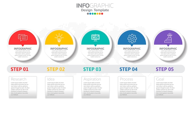 Timeline infographic template with arrows and 5 options flat design