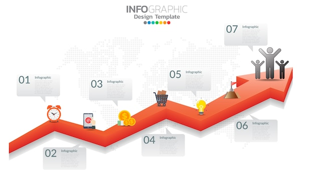 Timeline infographic template with arrows and options