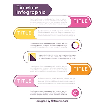 Timeline infographic template with color details