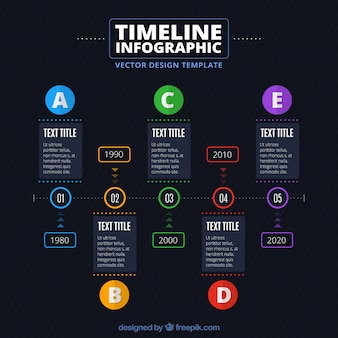Timeline infographic template with colorful circles Free Vector