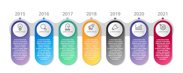 Timeline infographic template with icons options or steps
