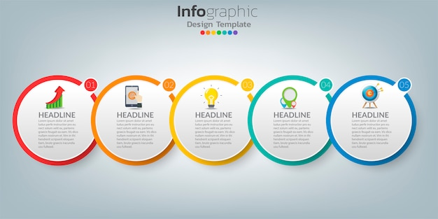 Timeline infographic template with icons in success concept.