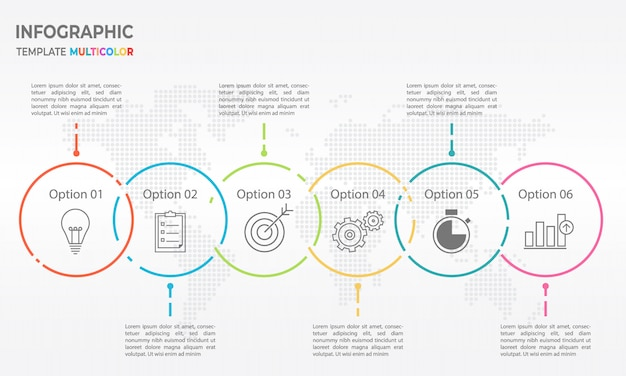 Timeline infographic thin line design, circle 6 options.