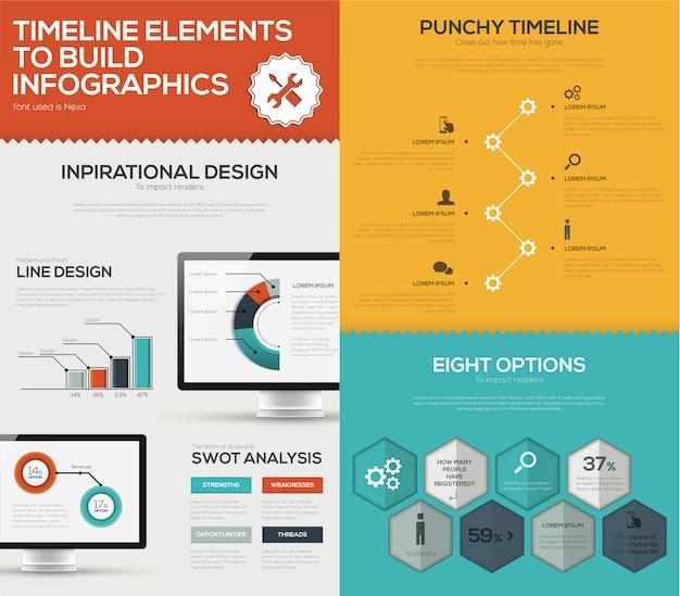 タイムラインinfographicベクトルセットとビジネスコンピュータフラットカラー