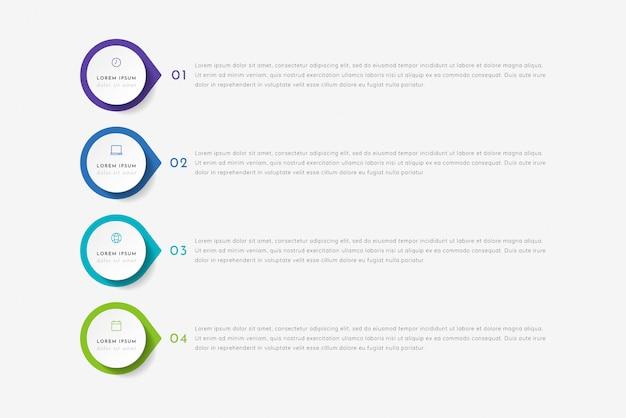 4 개의 포인터, 단계 또는 프로세스가있는 타임 라인 인포 그래픽. 화려한 템플릿 디자인.