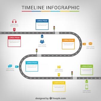 Сроки инфографики с дорогой Бесплатные векторы