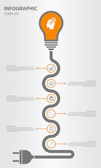 Timeline infographic with bulb and plug design