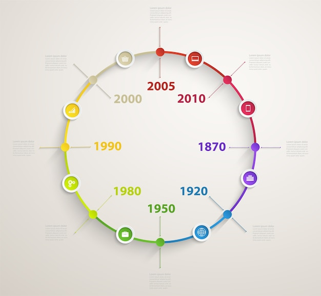 Timeline infographic with business icons. circle diagram of workflow by years.