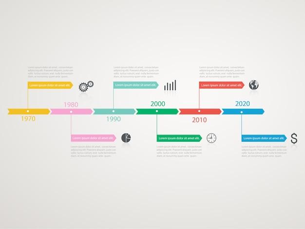 ビジネスアイコンとタイムラインのインフォグラフィック。年ごとのステップ構造。