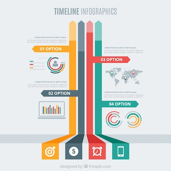 Timeline infographic with colored arrows