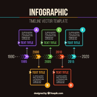 Timeline infographic with colorful options Free Vector