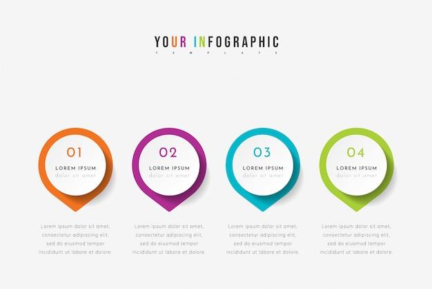 네 개의 포인터, 단계 또는 프로세스가 포함 된 타임 라인 인포 그래픽. 화려한 템플릿 디자인.