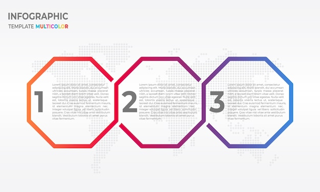 Timeline infographic with hexagon 3 options
