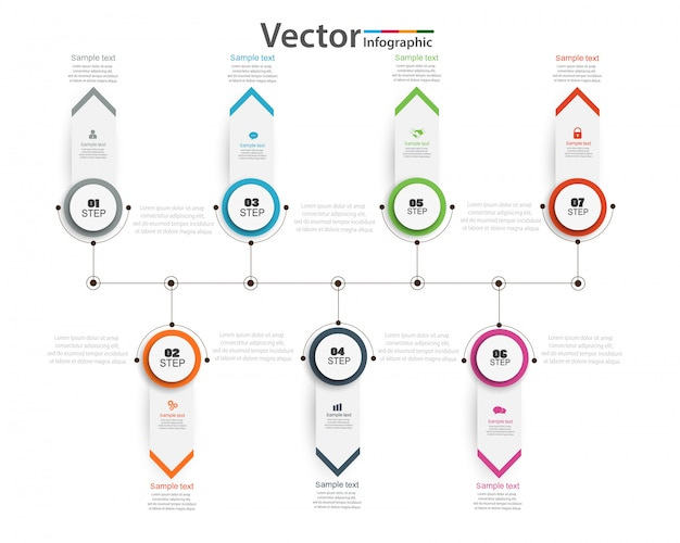 Timeline infographic with seven options