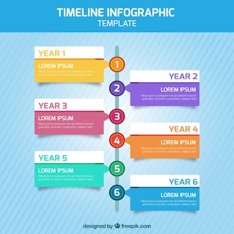 Timeline infographic with six steps