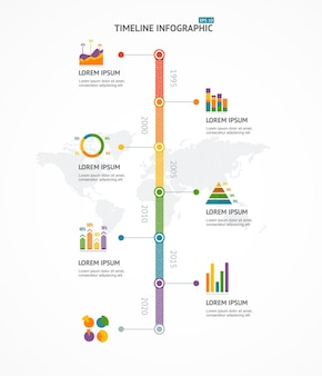 Хронология инфографики с текстом и диаграммами.