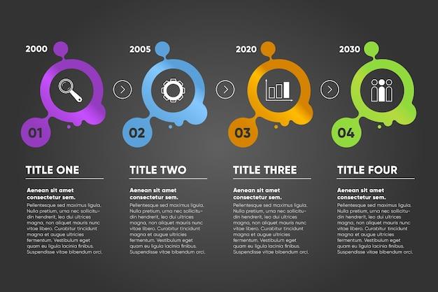 テキストスペースとアニメーションデザインのタイムラインインフォグラフィック