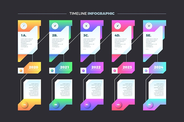 Timeline infographic with white text boxes