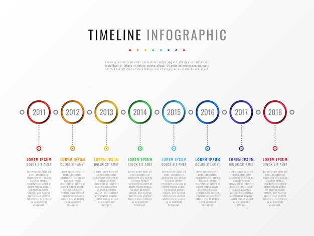 Timeline infographic with years and text boxes