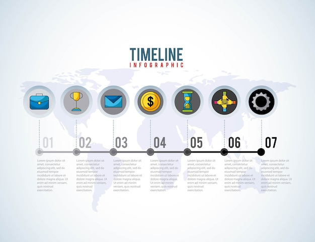 Timeline infographic world business progress money success