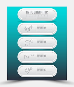 タイムラインのインフォグラフィックとアイコン