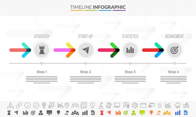Timeline infographics arrows to define process, colorful stats with icons set.