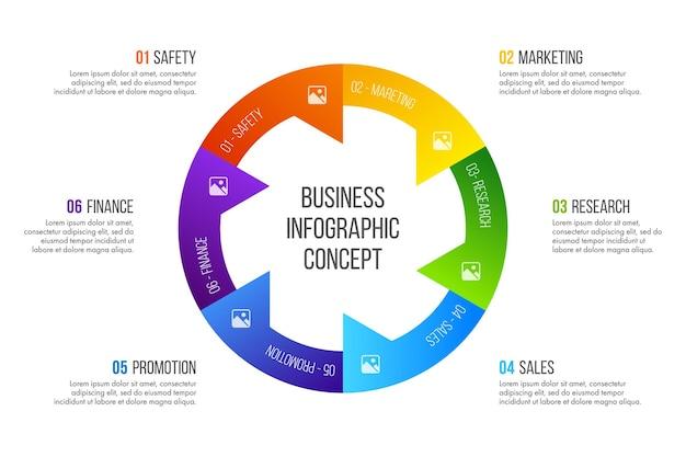 Инфографика временной шкалы. бизнес-концепция с 6 вариантами, шагами или процессами.