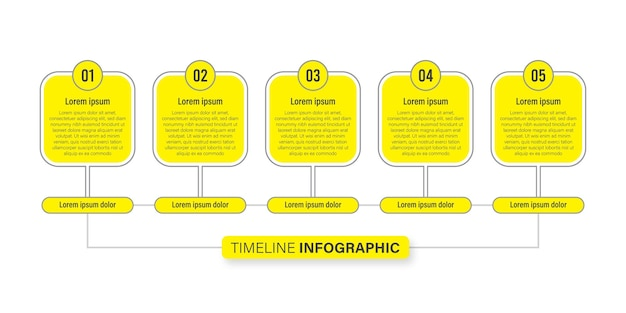 Timeline infographics concept with icon, 5 options business infographic flat design