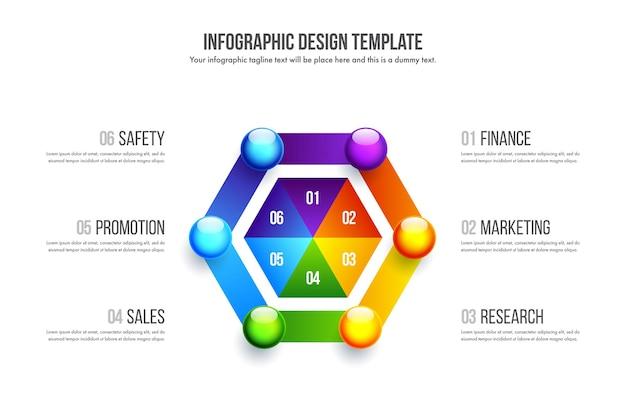 タイムラインのインフォグラフィックデザイン。 6つのオプション、ステップ、またはプロセスを備えたビジネスコンセプト。