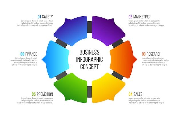 타임 라인 인포 그래픽 디자인. 6 가지 옵션, 단계 또는 프로세스가있는 비즈니스 개념.