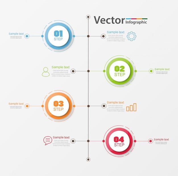 タイムラインインフォグラフィックデザインコンセプト、4つのオプション、ステップまたはプロセス