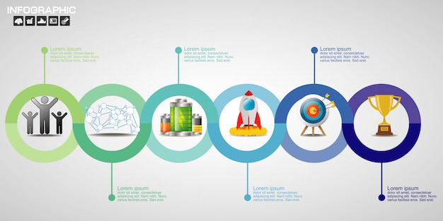 Timeline infographics design template with 10 options