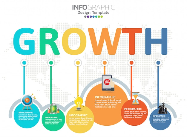 Timeline infographics design template with 6 options, process diagram.