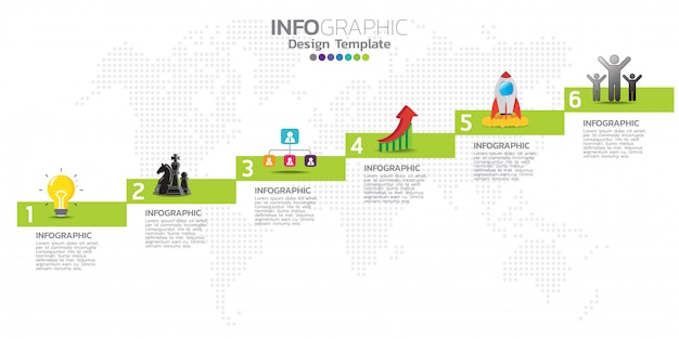 Timeline infographics design template with 6 options