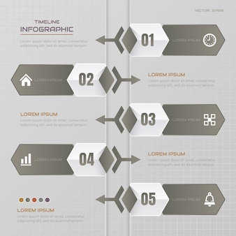 Timeline infographics design template with icons