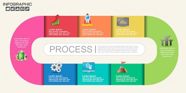 タイムラインインフォグラフィックデザインテンプレートオプション、プロセス図。