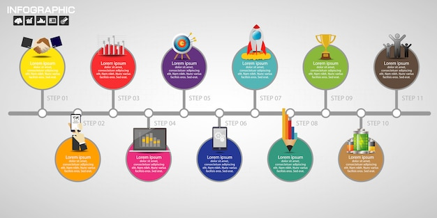 Timeline infographics design template.